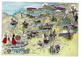 Les Provinces Françaises - Les Sept (7) Provinces Basques - Contour Géographique Illustré, Homualk - Pas Circulé - Landkaarten