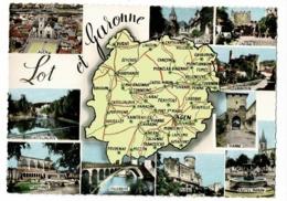 59 - Lot Et Garonne - Contour Géographique Dessiné, Muitivues, 10 Vues - Pas Circulé - Landkaarten