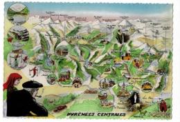 Circuit Touristique Des Pyrénées Centrales - Contour Géographique Illustré, Lauprêtre - Pas Circulé - Landkaarten