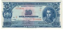 BOLIVIA10BOLIVIANOS20/12/1945P139UNCNo Overprint - 138C.CV. - Bolivia