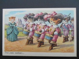 """Chats Habillés Illustrant Comptine """"Trois Jeunes Tambours..."""" - Katten"""