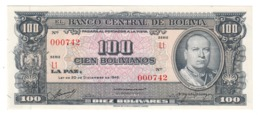 BOLIVIA100BOLIVIANOS20/12/1945P147UNC.CV. - Bolivië