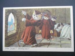 """Chats Habillés Illustrant Comptine """"Frère Jacques ! Dormez-vous ?"""" - Katten"""