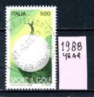 ITALIA  REPUBBLICA - Year 1988 - IL GOLF  - Usati Used Utilisè Gestempelt Viaggiati Gereist.. - 6. 1946-.. Repubblica