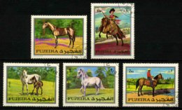 FUJEIRA - CHEVAUX - YT 109 + PA50 - SERIE COMPLETE DE 5 TIMBRES OBLITERES - Horses