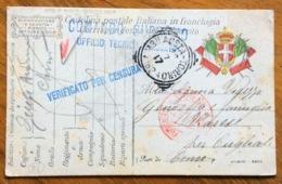 AMBULANTE AOSTA-TORINO (162 ) 22/7/17 + CENSURE  SU CARTOLINA POSTALE FF.AA.  DA AOSTA PER COMO - 1900-44 Vittorio Emanuele III
