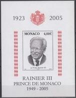 Monaco MiNr. Bl. 90 ** Tod Von Fürst Rainier III - Monaco