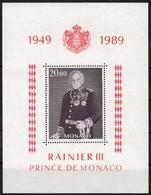 Monaco MiNr. Bl. 43 ** 40jähriges Thronjubiläum Von Fürst Rainer III. - Monaco