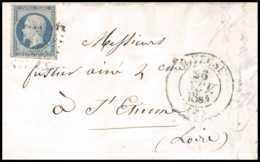 8154 LAC 1854 N 14 Bleu Laiteux Napoleon 20c Pc 1593 Joyeuse Cad Type 13 Ardeche St Etienne Loire France Lettre Cover - 1849-1876: Classic Period
