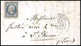 8168 LAC 1855 N 14 Bleu Laiteux Napoleon 20c Pc 1593 Joyeuse Cad Type 13 Ardeche St Etienne Loire France Lettre Cover - 1849-1876: Classic Period