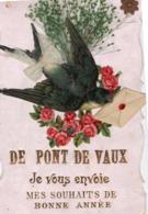 PONT DE VAUX ( 01 ) - Carte De Bonne Année - Hirondelle Et Fleurs En Ajoutis . - Pont-de-Vaux