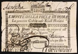 SACRO MONTE DI PIETA' ROMA 01 05 1797 29 SCUDI Ottimo Esemplare Spl Mancanza  Rara LOTTO 2971 - [ 1] …-1946 : Regno