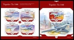 CENTRAL AFRICA 2019 - Tupolev Tu-144, M/S + S/S Official Issue - Airplanes