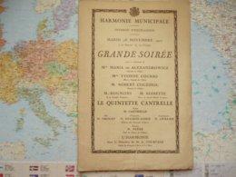 Amiens Harmonie Municipale Mardi 28 Novembre 1922 Grande Soirée - Programs