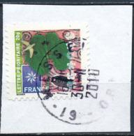 France - Meilleurs Voeux 2010 YT A500 Obl. Cachet Rond Manuel Sur Fragment - Adhésifs (autocollants)