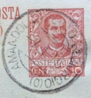 AMBULANTE AMANDOLA-PORTOS.GIORGIO (D) 7/1/16  SU CARTOLINA POSTALE C.R.P. 10 C. (C 32) PER FERMO - 1900-44 Vittorio Emanuele III