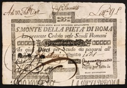 SACRO MONTE DI PIETA' ROMA 01 08 1797 95 SCUDI Ottimo Esemplare Spl Taglietto Rara LOTTO 2973 - [ 1] …-1946 : Royaume