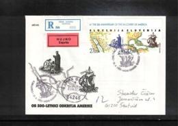 Slowenien / Slovenia 1992 Michel 20-21 Christopher Columbus FDC With Scarce Kamna Gorica Postmark - Slovénie