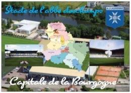 Stade De Football - Stade De L'Abbé Deschamps - Auxerre - Capitale De La Bourgogne - 3 Vues + Carte Géo - Cpm - Vierge - - Voetbal