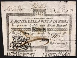 SACRO MONTE DI PIETA' ROMA 01 08 1796 12 SCUDI Ottimo Esemplare Q.spl Forellini E Assottigliamento R2 LOTTO 2974 - [ 1] …-1946 : Regno