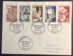 72- Série Métiers D'Art 970 971 972 973 974 FDC PremierJour Paris 6/5/1954 Lettre - 1950-1959