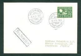 "Sweden. Cover 1952. Helsingor,Denmark. Ship Cancel. "" From Sweden"" Scott# 411. 10 Ore Post Union. - Suède"