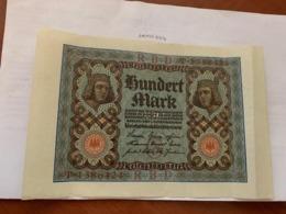 Germany 100 Marks Reich Banknote 1920 - [ 3] 1918-1933 : Repubblica  Di Weimar