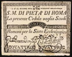 SACRO MONTE DI PIETA' ROMA 14 09 1795 4 SCUDI Ottimo Esemplare Bb+ Forellini E Piccola Mancanza R LOTTO 2975 - [ 1] …-1946 : Regno