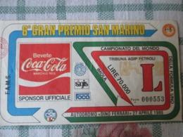 Biglietto Gran Premio Formula 1 Imola 1986 - Tickets D'entrée