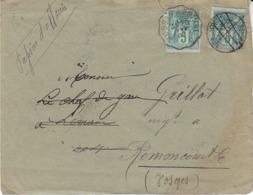 Enveloppe De 1893 ,timbre Annulé Puis Lettre Réaffranchie Pour Réexpédition, Nombreux Cachets Au Verso, 2 Scans - Storia Postale
