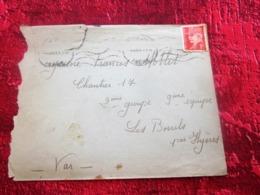 WW2-Lettre CHANTIER JEUNESSE 13 Groupe 4-Equipe -Les Borrels HYÈRES Var Guerre 1939-45 Pétain Régime De Vichy - Marcophilie (Lettres)