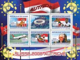"Guinea 2008 MNH - Austrian Football Players, ""Swiss Air"" Aircraft, Joseph Haydn. YT 3297-3301, Mi 5351-5355 - Guinea (1958-...)"