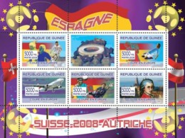 "Guinea 2008 MNH - Spanish Football Players, ""Swiss Air"" Aircraft, W.A.Mozart. YT 3307-3311, Mi 5361-5365 - Guinea (1958-...)"
