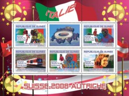 Guinea 2008 MNH - Italian Football Players, Swiss Train, Romy Schneider. YT 3322-3326, Mi 5376-5380 - Guinea (1958-...)
