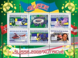 Guinea 2008 MNH - Swedish Football Players, Swiss Helicopter (Red Cross), Gerard Berger. YT 3357-3361, Mi 5411-5415 - Guinea (1958-...)