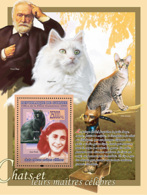 Guinea 2008 MNH - FAUNA- Cats & Their Masters: Bombay, Anne Frank, Victor Hugo. YT 833, Mi 5605/BL1537 - Guinea (1958-...)