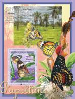 Guinea 2008 MNH - FAUNA- Butterflies: Cethosia Cyane (Danus Plexippus, Chlosyne Janais. YT 839, Mi 5476/BL1504 - Guinea (1958-...)