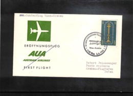 Austria / Oesterreich 1968 Sonderflug Wien - Krakau - Premiers Vols AUA