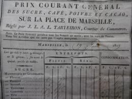 TARTEIRON MARSEILLE FACTURE TARIF SUCRE CAFE POIVRE ET CACAO 1819 - 1800 – 1899