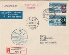 Suisse Lettre Recommandée Aviation 1937 - Poststempel