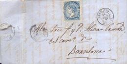 Año 1865 Edifil 75 4c Sellos Isabel II Carta Mazarron Matasellos Cartajena Murcia Membrete Juan Atonio Yufera - Briefe U. Dokumente