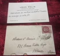 WW2-Lettre Mignonnette+Carte Visite J.Palix Ingénieur Mines Directeur Textiles Artificiels La Voulte Su Rhone /Valence - Marcophilie (Lettres)
