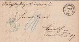 Allemagne Lettre De Service Ettlingen 1886 - Covers & Documents