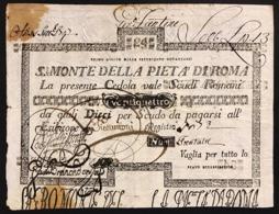 SACRO MONTE DI PIETA' ROMA 01 08 1796 24 SCUDI Ottimo Esemplare Bb+ Forellini E Macchie R2 LOTTO 2981 - [ 1] …-1946 : Regno