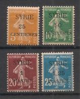 Syrie - 1924 - N°Yv. 106 - 107 - 109 - 110 - Semeuse 4 Valeurs - Neuf Luxe ** / MNH / Postfrisch - Syrië (1919-1945)