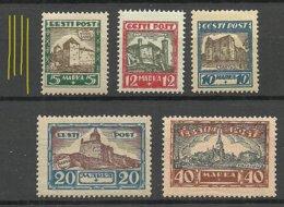 Estonia Estland Estonie 1927 Michel 63 - 67 Vertical WM * - Estonie