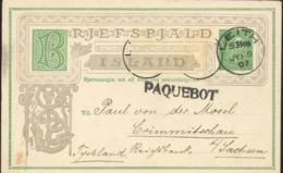 Ganzsache Island Christian IX. König Dänemark Leith 9.7.1907 Schwiegervater Europas Marken Fehlen Paquebot [KE-GR-22] - Covers & Documents