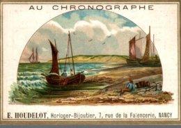 CHROMO  AU CHRONOGRAPHE E. HOUDELOT NANCY   ARRIVEE DES BATEAUX - Cromo