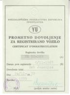 4704    YU--SLOVENIA   TOMOS  1961  PROMETNO DOVOLJENJE - Motos