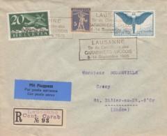 Nos 157, F4 Et F1  Sur Lettre Recommandée , Obl. Par La Flamme Du Tir Du Centenaire Des Carabiniers Vaudois, 5-14.9,1925 - Autres Documents